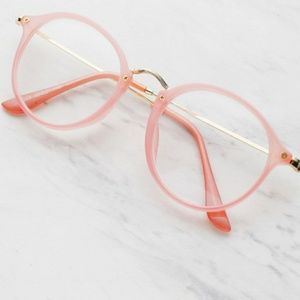 Accessories - Vintage Inspired Pink and Gold Frame Glasses